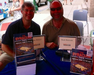 Mike Waters and I, toting Sharpies and copies of our book.