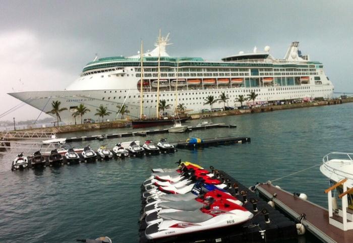 Grandeur of the Seas, as seen from the Royal Navy Dockyard in Bermuda.