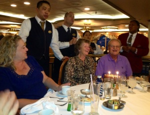 Sandro, Christian and Denise wish Brenda and Dave happy birthday after the final dinner.