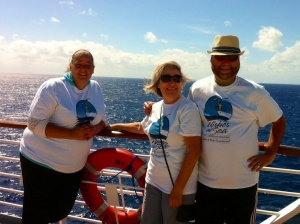 Michelle M, Karen and I prepare for the ship's Make-A-Wish charity walk on deck ten. (Photo by unnamed fellow passenger)