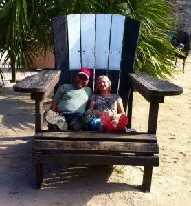 Karen and I enjoy a tourist moment outside Snorkel Beach. (Photo by  JoAnn)