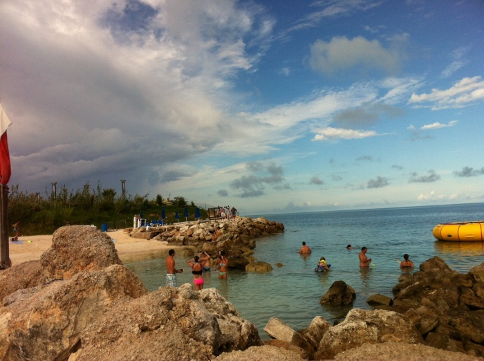 The beauty of Snorkel Beach, one mile from the docked Grandeur of the Seas.