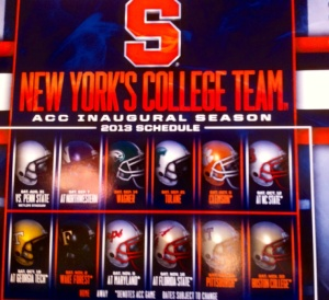 Right now, I'm sure glad I've got this 2013 Syracuse University season ticket booklet.