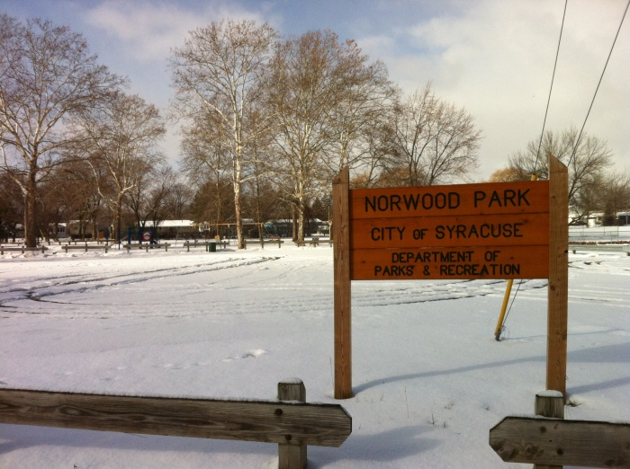 There's nobody playing at Syracuse's Norwood Park on  Thanksgiving morning.