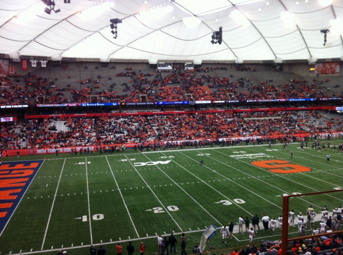 Half capacity at the Carrier Dome in Syracuse, N.Y., for Syracuse vs. Pittsburgh football game.