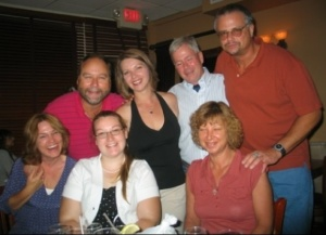 A happy time at the 40th birthday of my youngest sister, Dory (in black). The men, left to right, are me, Dory's husband Jim, and Fran's husband Jack. At bottom are my wife Karen, my daughter Elisabeth and my sister Fran.
