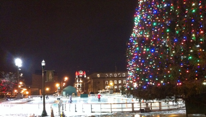 The pretty scene in Syracuse's Clinton Square on a drizzly Friday, Dec. 20.