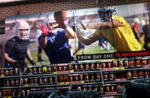 It's no surprise spotting a wall mural tribute to football in Dick's Sporting Goods.