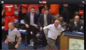 Syracuse coach Jim Boeheim earned his first disqualification from an NCAA game ever with this outburst in the loss to Duke. (From YouTube)