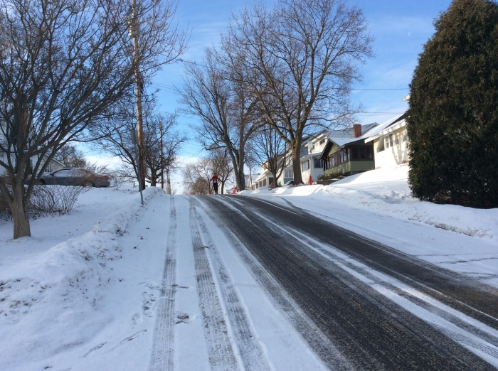 The hill on our street is daunting.