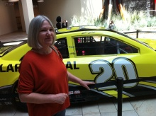Karen with Matt Kenseth's No. 20 car.