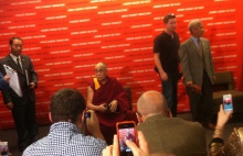 Ready to address the press is the Dali Lama.