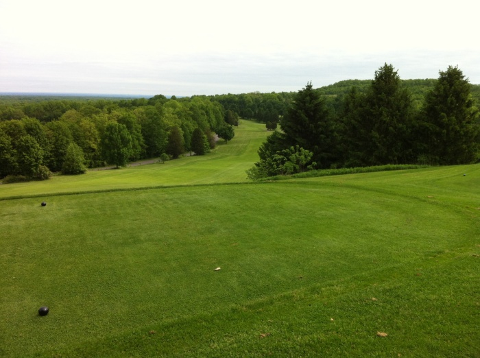 Looking down the first fairway from the tee at hole No. 1 at Green Lakes State Park in Fayetteville, N.Y.