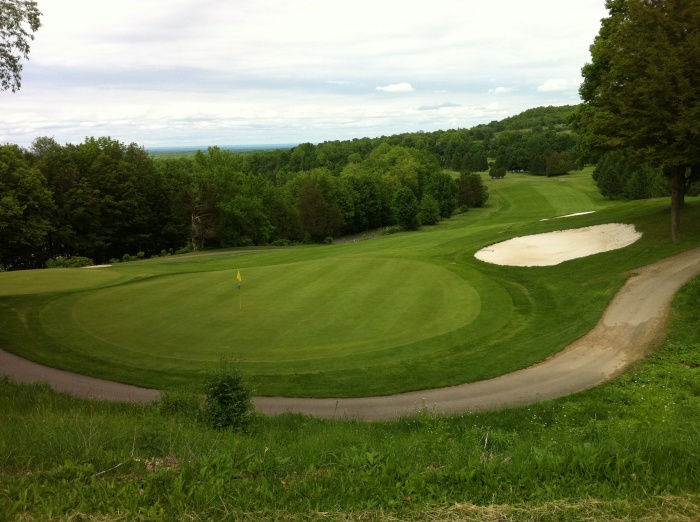 The ninth green, from behind.