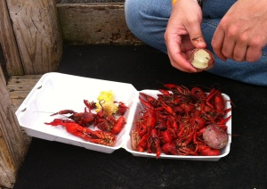 The hero of the day, cooked in a pot. The might crawfish.