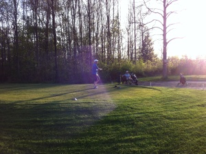 This is either DJ or Bird, teeing off in the fading twilight.