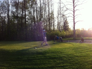 This is Bird teeing off in the twilight on hole 17.