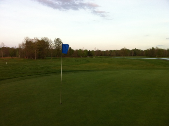 Looking back at the 1i8th fairway from behind the green at Northern Pines in Cicero, N.Y.