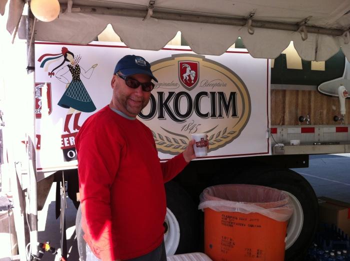 Happy before my first-ever sip of Polish beer. (Photo by Karen Miller Bialczak)