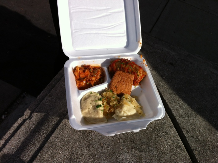 The sampler from Evas: All that and a hunk of bread.
