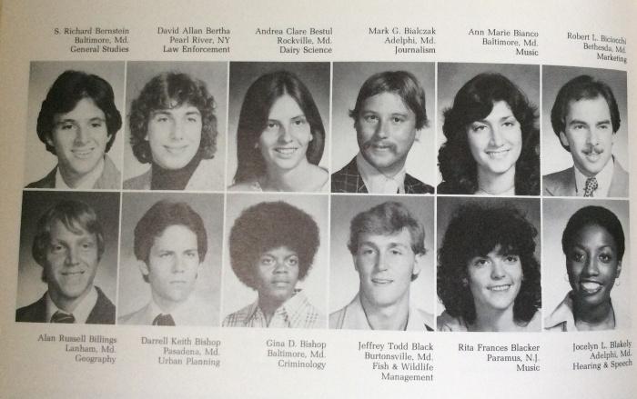 Many classmates at Maryland, one bad haircut in 1979.