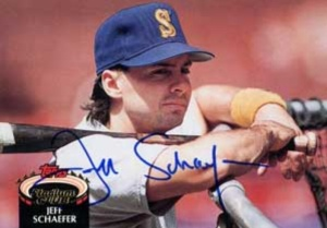 Jeff Schaefer got a baseball card to mark his spot as a major leaguer forever.