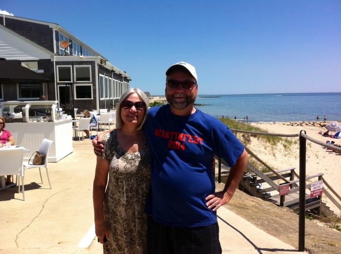 Karen and Mark, at the tiki bar.