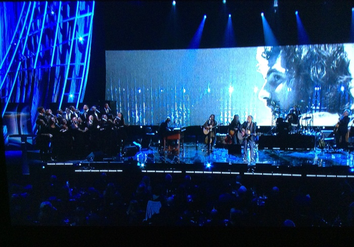 Cat Stevens performs at his induction into the Rock Hall of Fame. (From my flat screen tuned to HBO)