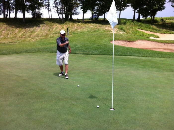 I pushed my first shot on hole one, four feet to the right of the pin.