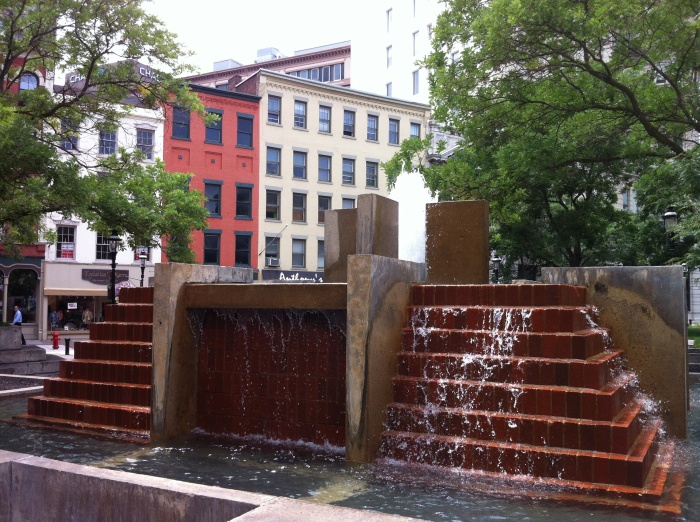 A fountain of a different design at Hanover Square.