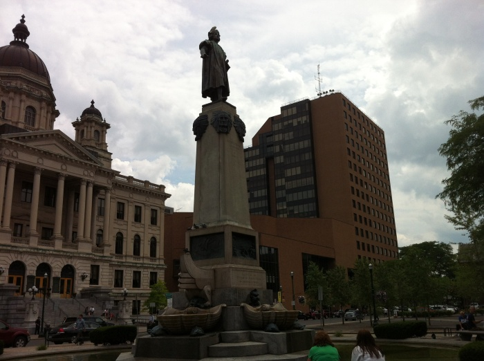 Columbus tribute, across from the Onondaga County Courthouse.