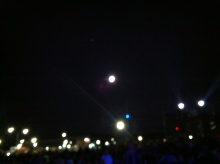 Some of these are the lights of campus. One is an almost full moon.
