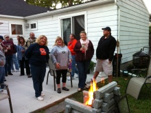 Michelle, at left, invited her friends and family over to officially christen her new patio.