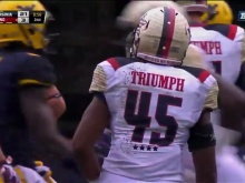 Every Maryland uniform read Triumph on the back.