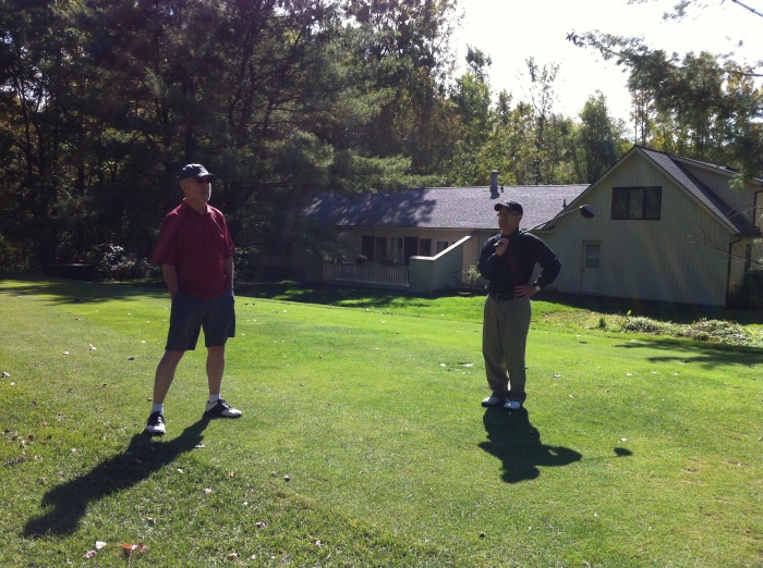 KP and Tater await our turn at the tee at Radisson Greens in Baldwinsville, N.Y.