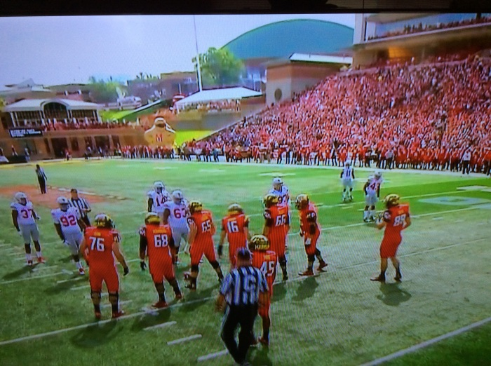 The Maryland uniforms vs. Ohio State had plenty of red in them. (From my flat screen)