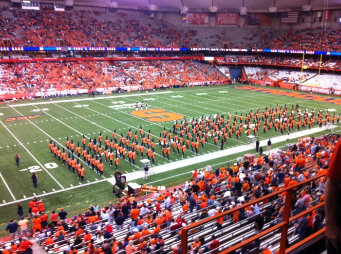 The Pride of the Orange. Syracuse University's marching band's halftime show Friday night in an already disinterested Carrier Dome.