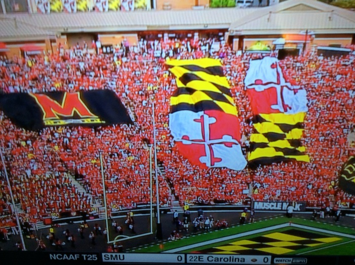The tradition at Byrd Stadium, said announcer Sean McDonough, is called the Unfurling of the Flags.