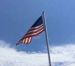 Our flag, as flown on his  front lawn every holiday in Syracuse, N.Y., by Good Neighbor Tim.