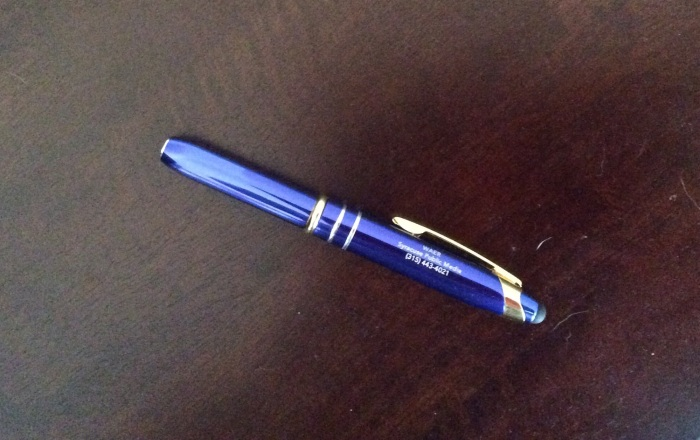 Write it down. I have a slick looking new pen.