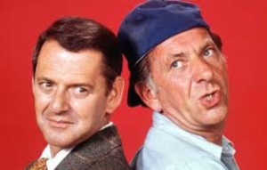 Jack Klugman, right, and Tony Randall as Oscar and Felix. (From Getty Images)