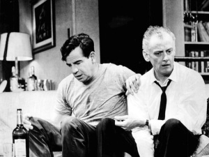 "Walter Matthau, left, with Art Carney as Oscar Madison and Felix Ungar in ""The Odd Couple"" on Broadway in 1965. (From WikiPedia)"