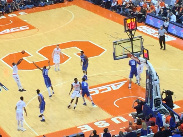 Kaleb Joseph attempts a three-pointer against Duke on Feb. 14, 2015, in the Carrier Dome.