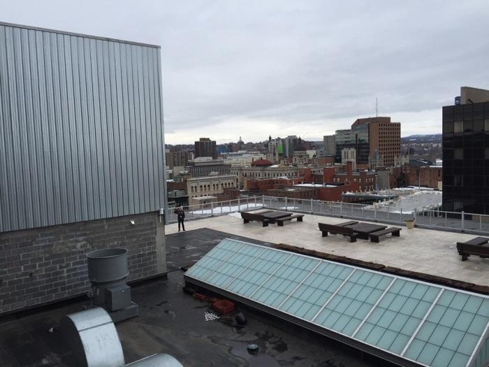 Nine stories high in downtown Syracuse, N.Y.