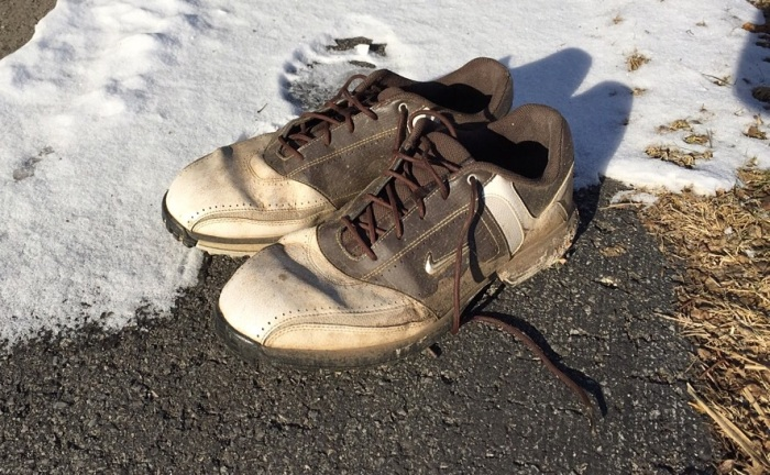Well-worn Nikes. Yes, water-proof when new.