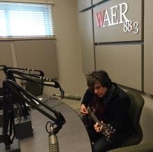 Mark Doyle performs in the studio of WAER-FM in Syracuse, N.Y.