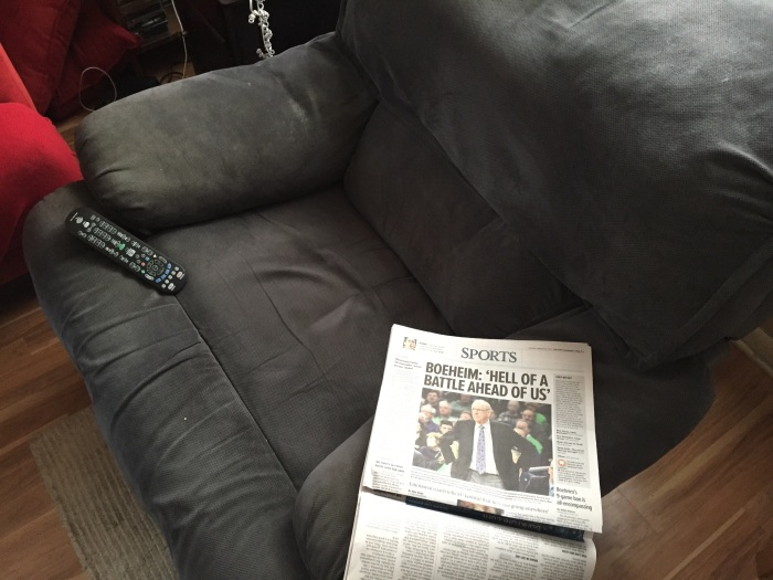 My first read, the sports section.