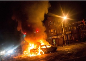 Out of control in Baltimore. (Getty Images)