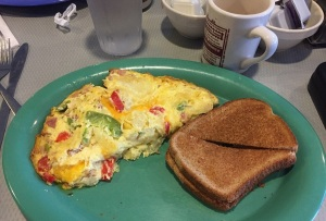 Make the cheese cheddar and the toast wheat with my western omelette.