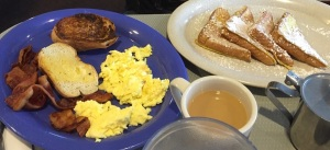Make the meat bacon and the eggs scrambled with Steve's french toaste combo.